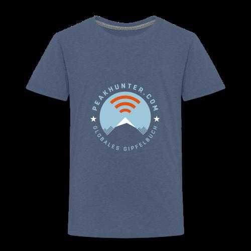 Kinder T-Shirt Peakhunter Globales Gipfelbuch Blau meliert - Kinder Premium T-Shirt