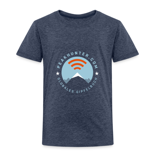 Kinder T-Shirt Peakhunter Globales Gipfelbuch Blau meliert