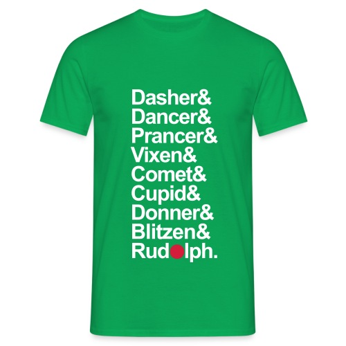 Reindeer Names - Mens Green T-Shirt. - Men's T-Shirt