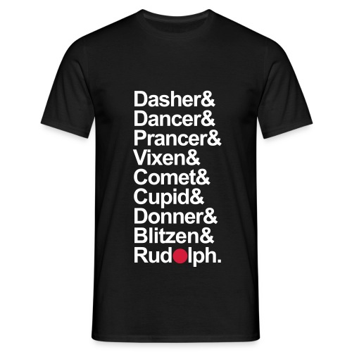 Reindeer Names - Mens Black T-Shirt. - Men's T-Shirt