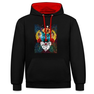 Blue Cat the King Queen Katze Krone KapuzenPullover - Kontrast-Hoodie