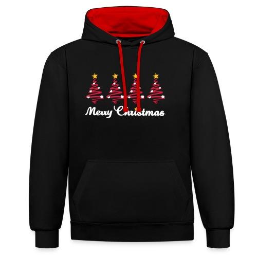 Weihnachten - Weihnachtsbaum mit Sternen - Kontrast-Hoodie