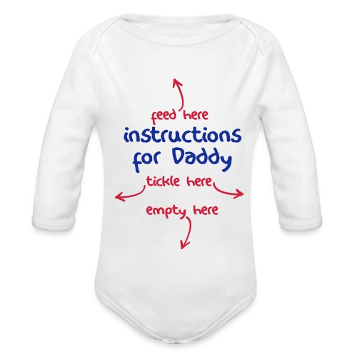 Instructions for Daddy - Red/Blue Print Long Sleeve - Organic Longsleeve Baby Bodysuit