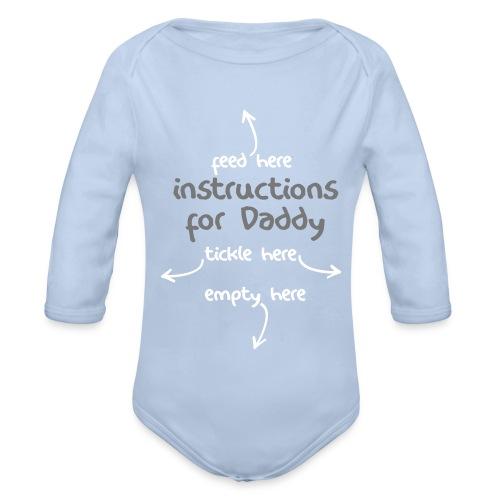 Instructions for Daddy - White/Grey Print Long Sleeve - Organic Longsleeve Baby Bodysuit