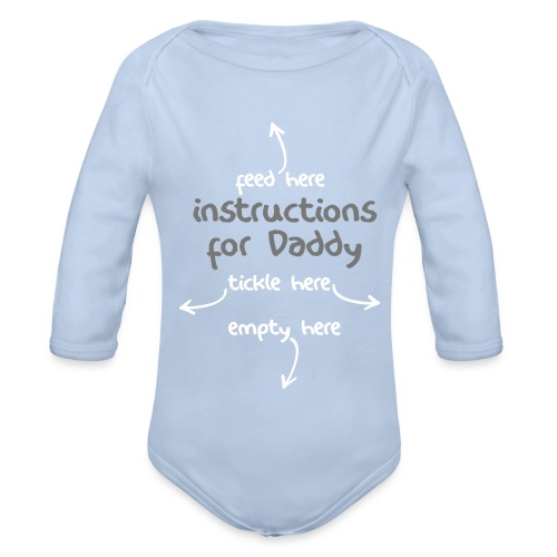 Instructions for Daddy - White/Grey Print Long Sleeve - Organic Longsleeve Baby Bodysuit