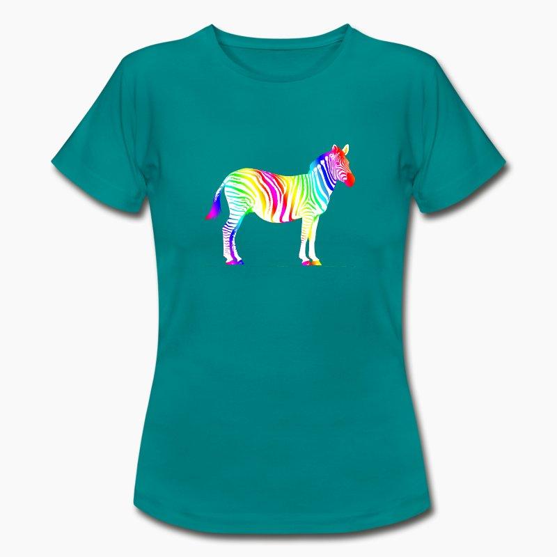 zebra afrika africa regenbogen rainbow safari t shirt. Black Bedroom Furniture Sets. Home Design Ideas