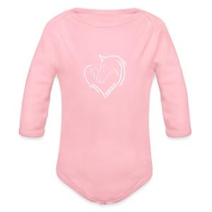 Heart, Body( Print: Digital White) - Baby Bio-Langarm-Body
