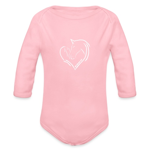 Heart, Body( Print: Digital White) - Baby Bio-Langarm-Body
