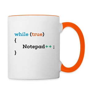 while true Notepad++ mug - Contrasting Mug