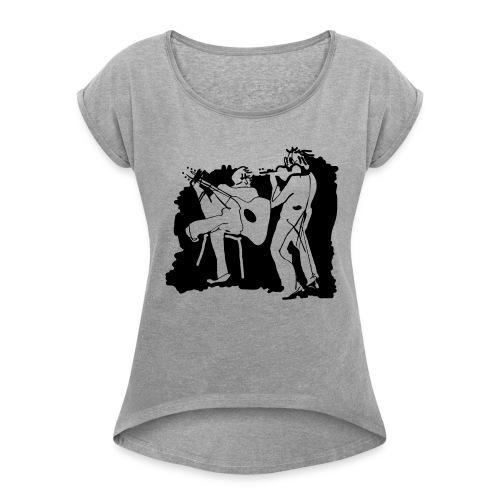 guitar and violin - Frauen T-Shirt mit gerollten Ärmeln