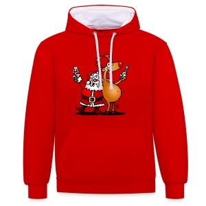 Sudadera Santa Claus y sus renos - Sudadera con capucha en contraste