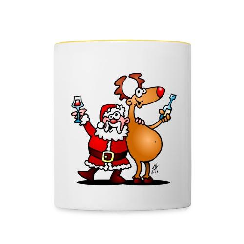 Taza Santa Claus y sus renos - Taza en dos colores