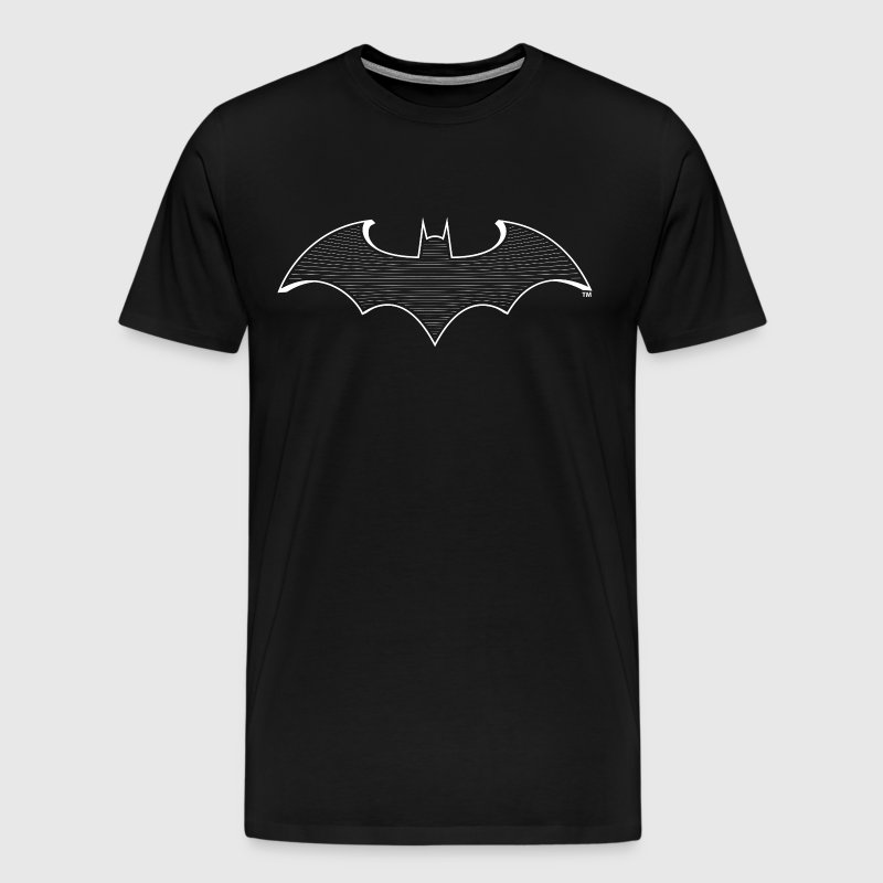 DC Comcis Batman Bat Signal Striped Logo - Premium T-skjorte for menn