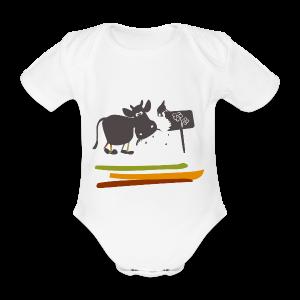 Kurzarmbody mit Kuh Erika - Baby Bio-Kurzarm-Body