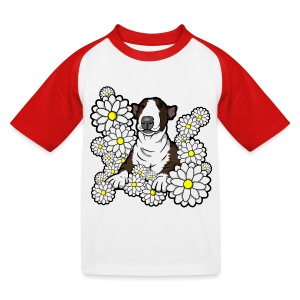 Bull Terrier Daisies - Kids' Baseball T-Shirt