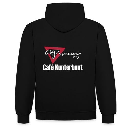 2-farb Hoodie mit Café Kunterbunt Logo hinten - Kontrast-Hoodie