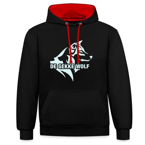 de gekke wolf zwart rood - Contrast hoodie