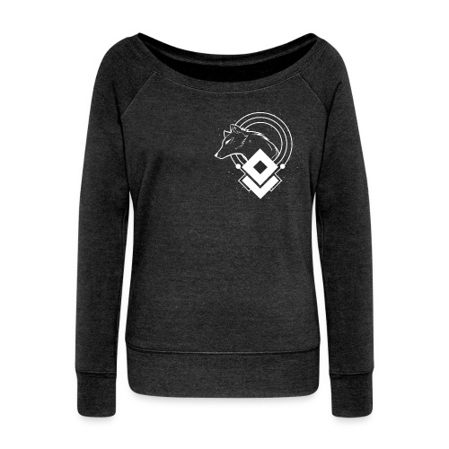 WHITE WOLF - Boat Neck - heather black - Women's Boat Neck Long Sleeve Top