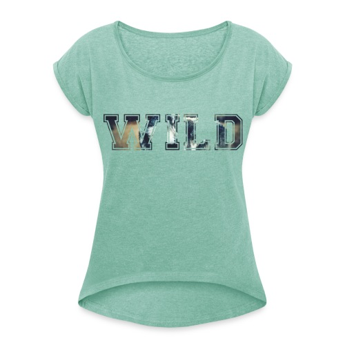 WILD - T-Shirt - heather mint - Women's T-Shirt with rolled up sleeves