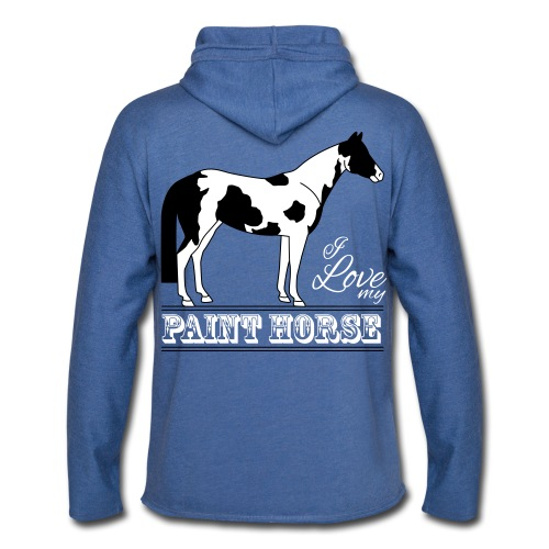 Sweat-shirt à capuche léger unisexe, logo I love my paint horse - Sweat-shirt à capuche léger unisexe