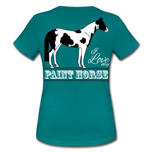 T-shirt Femme vert-bleu, motif il love my paint horse noir - T-shirt Femme