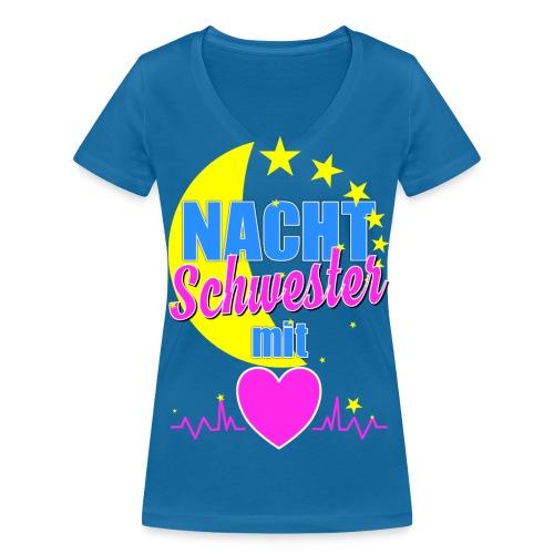 Krankenschwester T Shirt für Nachtschwester im Krankenhaus - Frauen Bio-T-Shirt mit V-Ausschnitt von Stanley & Stella