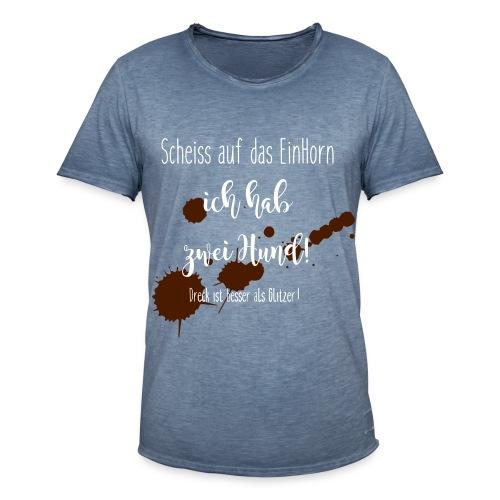 1Horn - 2Hund - Männer Vintage T-Shirt