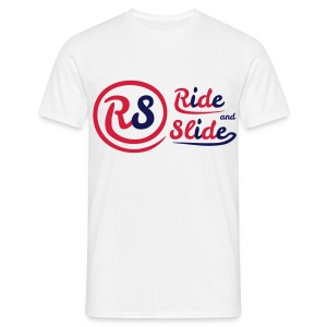 T-shirt white Ride And Slide red n blue - T-shirt Homme