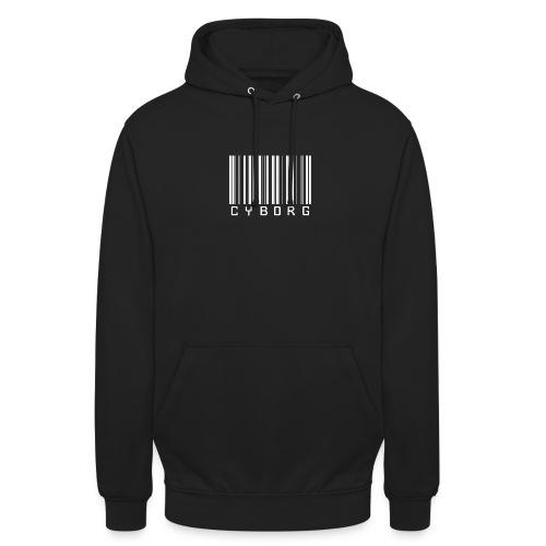 Sweat noir à capuche cyborg code barre - Sweat-shirt à capuche unisexe
