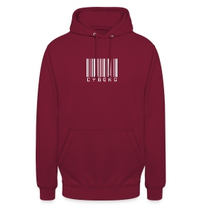 Sweat bordeaux à capuche cyborg code barre - Sweat-shirt à capuche unisexe