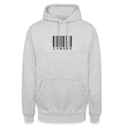 Sweat gris chiné à capuche cyborg code barre - Sweat-shirt à capuche unisexe