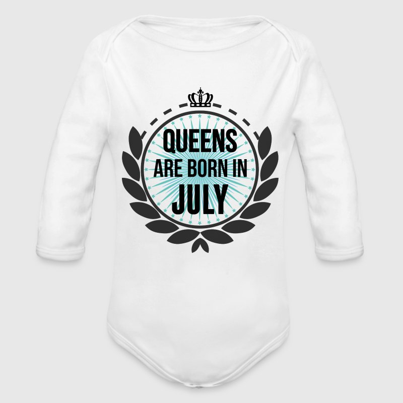 Queens Are Born In July Baby Bodysuits - Longlseeve Baby Bodysuit