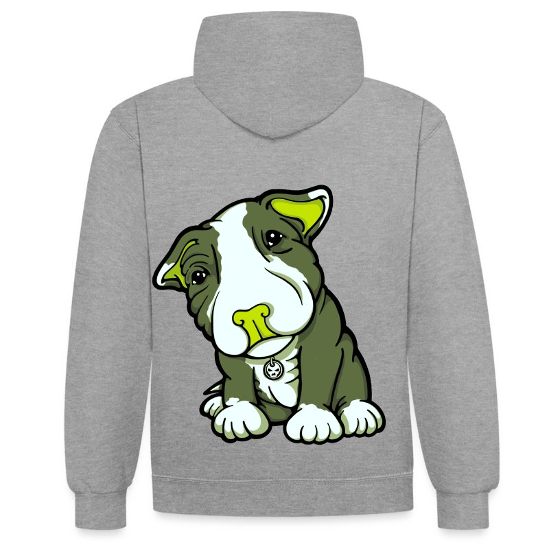 Pit Bull Terrier Puppy Greens - Contrast Colour Hoodie