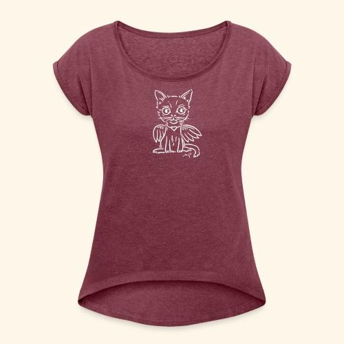 Ich Kätzchen bin ein Engelchen! - Frauen T-Shirt mit gerollten Ärmeln
