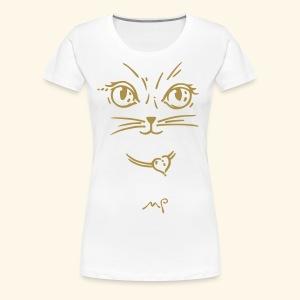Katzendame goldig - Frauen Premium T-Shirt