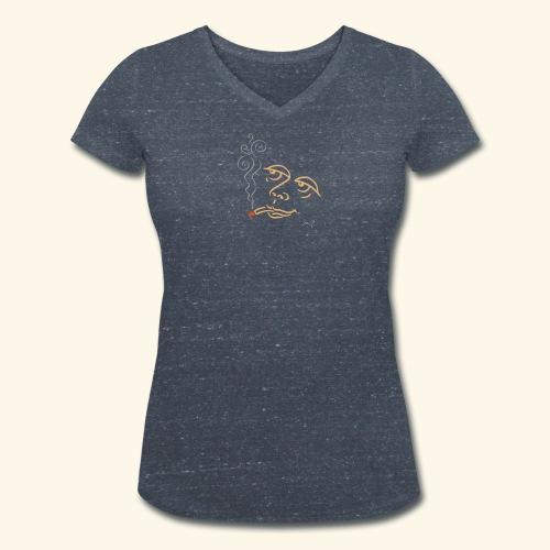 Träumende Raucherin in Rauch aufgelöst - Frauen Bio-T-Shirt mit V-Ausschnitt von Stanley & Stella