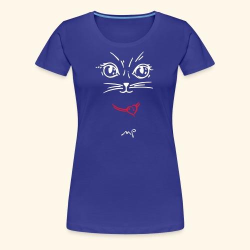Katzendame deep-blue - Frauen Premium T-Shirt
