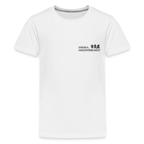 Premium-T-shirt tonåring, svart logga på bröstet - Premium-T-shirt tonåring