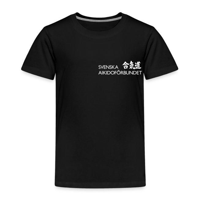 Premium-T-shirt barn, vit logga på bröstet