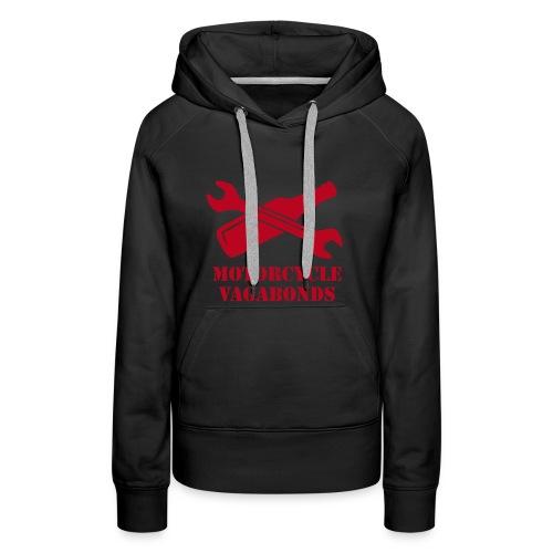 hoodie - female  - motorcycle vagabonds - red print - Women's Premium Hoodie