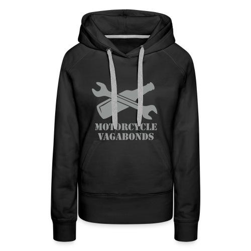hoodie - female  - motorcycle vagabonds - grey print - Women's Premium Hoodie