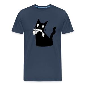 Katze frisst Fisch - Men's Premium T-Shirt