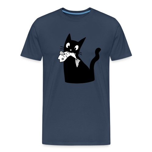 Katze frisst Fisch - Männer Premium T-Shirt