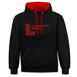 Landscapes Music Hood Black/Red - Contrast Colour Hoodie