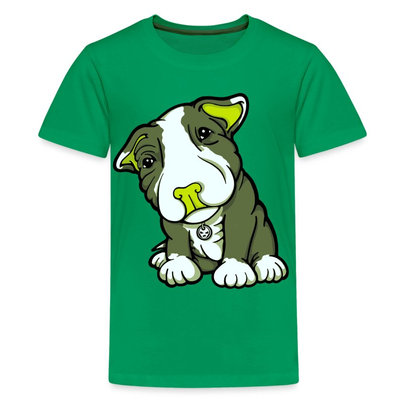 Pit Bull Terrier Puppy Greens - Teenage Premium T-Shirt