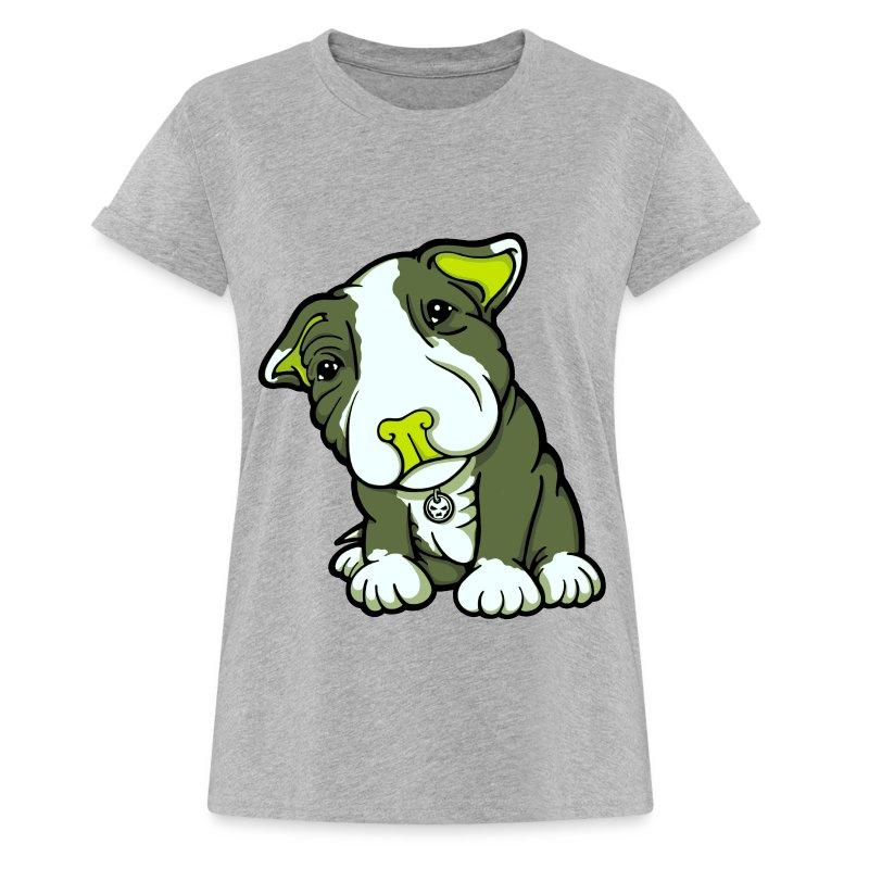 Pit Bull Terrier Puppy Greens - Women's Oversize T-Shirt