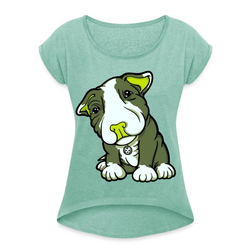 Pit Bull Terrier Puppy Greens - Women's T-shirt with rolled up sleeves