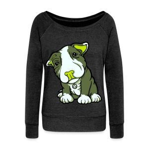Pit Bull Terrier Puppy Greens - Women's Boat Neck Long Sleeve Top
