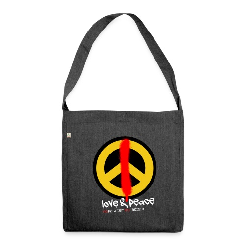 Love & Peace Schultertasche aus Recyclingmaterial grau - Schultertasche aus Recycling-Material