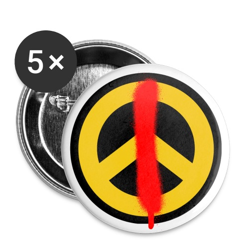 Love & Peace Button groß - Buttons groß 56 mm (5er Pack)
